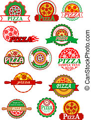 Italian pizza, banners, emblems and labels set - Fresh...