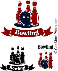 Bowling emblems with ball and ninepins