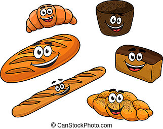 Cartoon bread bakeries - Cartoon fresh bread bakeries with...