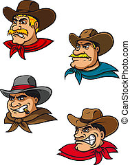 Cartoon western brutal cowboys mascots - Cartoon western...