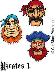 Cartoon danger pirates - Cartoon brutal captains, sailors...