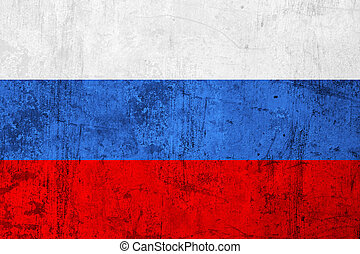 Grunge Dirty and Weathered Russian Flag, Old Metal Textured