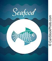 sea food design over blue  background vector illustration