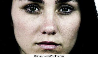Sad woman closeup - Desperate depressed woman looking