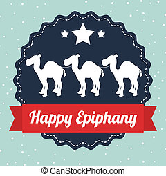 happy epiphany over blue background vector illustration