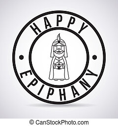 happy epiphany over gray background vector illustration