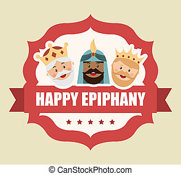 happy epiphany over pink background vector illustration