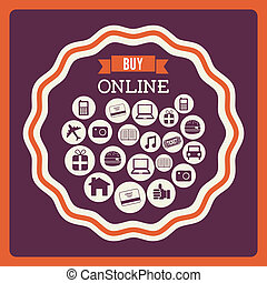 buy on line design over purple background vector...