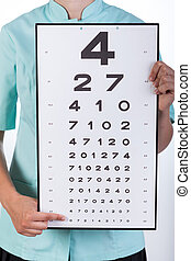 Oculist with a Snellen chart - View of oculist with a...
