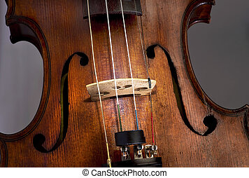 Antique Violin - Closeup of violin F- holes and strings.