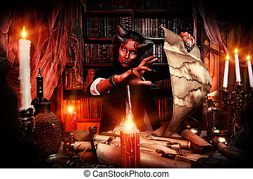 gothic fantasy - Horned Devil in his home. Fantasy. Ancient...
