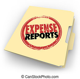 Expense Report Stamp Manila Folder Receipts Documents -...