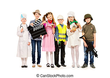 popular occupations - A group of children dressed in...