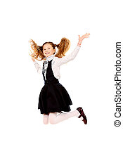 gladness - Cheerful ten years girl jumping for joy Isolated...