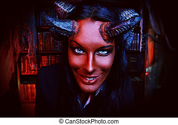 smiling devil - Horned Devil smiling at camera Fantasy...
