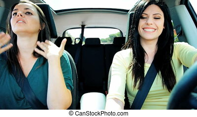 Two happy women driving car