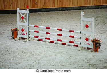 rojo, blanco, obstáculo, Saltar, caballos,...