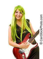Woman with green hair and guitar - woman with vivid color...