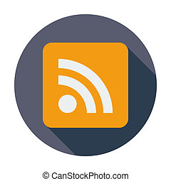 Rss flat icon. - Rss. Single flat color icon. Vector...