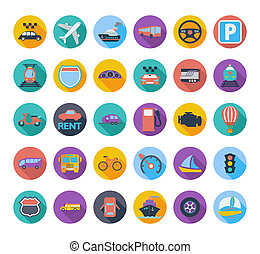 Transportation icon set. - Transportation icon set with long...