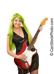 Woman with green hair and guitar - happy woman with green...