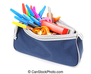 Bag with school tools on a white background. - Bag with...