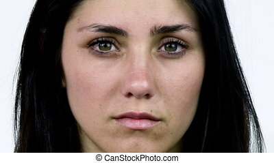 Closeup of sad woman