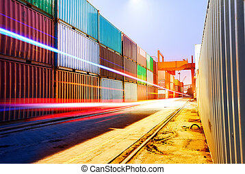 Container Terminal - Container terminal at night, working in...