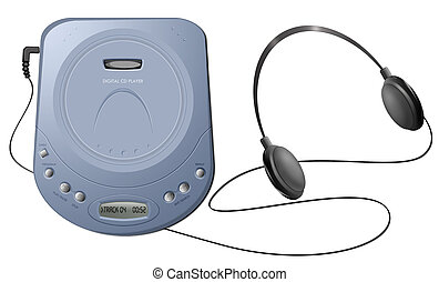 Portable CD player with headphones - Blue -...
