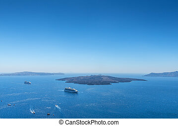 View From Fira To The Volcano In Santorini, Greece - View To...
