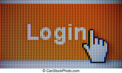 Login and sign in button on computer screen