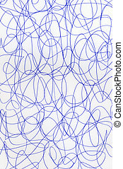 Blue pen scribbles on white paper abstract pattern.