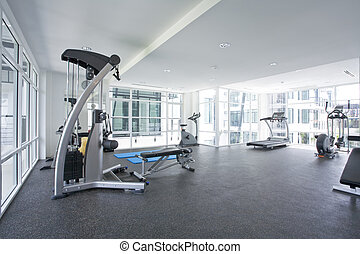 gym - Panoramic view of modern style gym interior