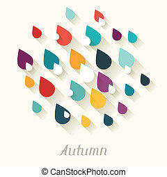 Autumn background with falling drops in flat design style.