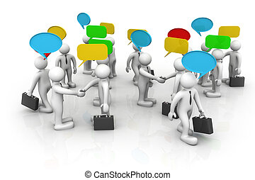 3d business people are discussed, Discuss/debate/...