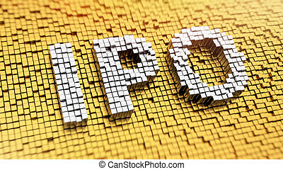 Pixelated IPO - Pixelated acronym IPO made from cubes,...