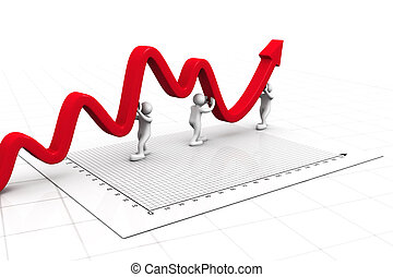 3d business people pushing a business graph