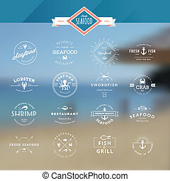 Set of labels for seafood - Set of vintage style elements...