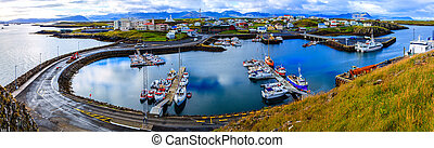 Stykkisholmur Harbor - Scenic overlook of the town of...