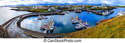 Stykkisholmur Harbor - Scenic overlook of the town of...