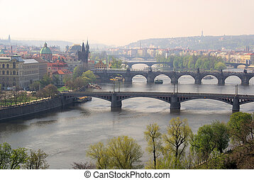 Prague bridges aerial view 03