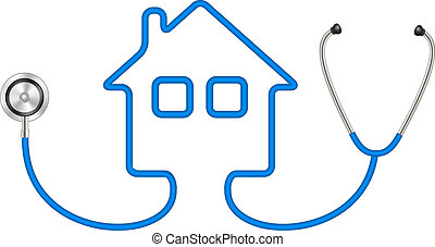 Stethoscope in shape of house in blue design on white...