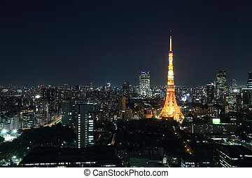 Tokyo cityscape at night, Japan - top view of Tokyo...