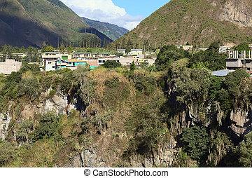 Banos, Ecuador - The small town of Banos in Ecuador along...