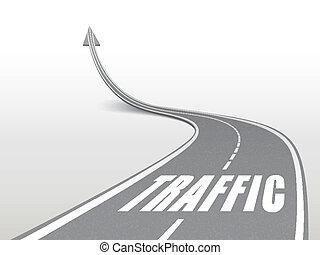 traffic word on highway road