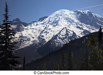 Mount Rainier Sunrise Snow Mountain - Mount Rainier Sunrise...