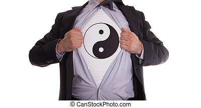 Businessman with yin and yang t-shirt - Businessman rips...