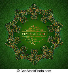 Damask medallion - Damask medallion over green background...