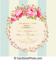 Border of flowers in vintage style Vector illustration