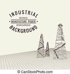 Oil derrick background with sample text. Vector...